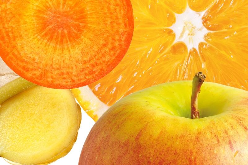 Juicing pomme, orange, carotte et gingembre