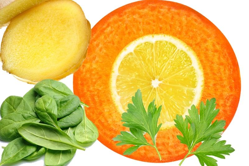 Juicing carotte, épinard, citron, gingembre, coriandre