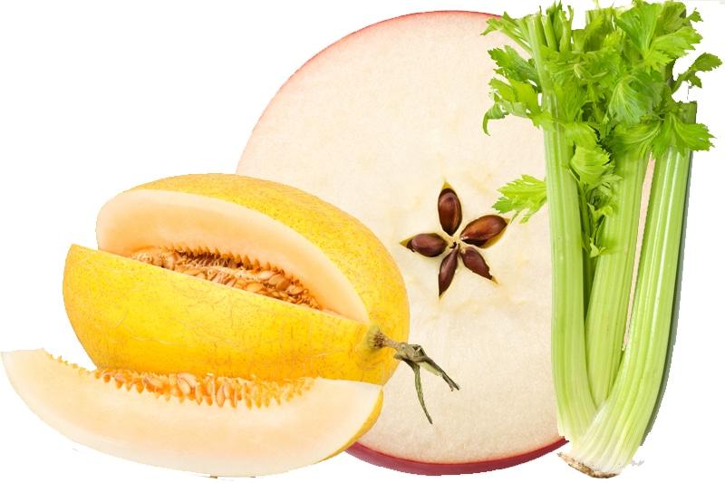 Juicing melon canari, pomme et céleri branche