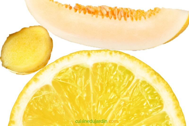 Juicing melon canari, citron, gingembre