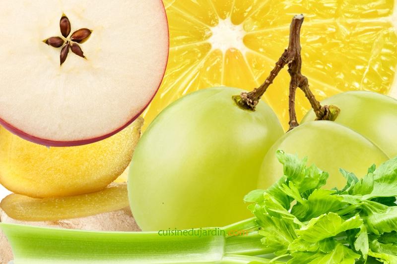 Juicing pomme, gingembre, céleri branche, citron et raisin
