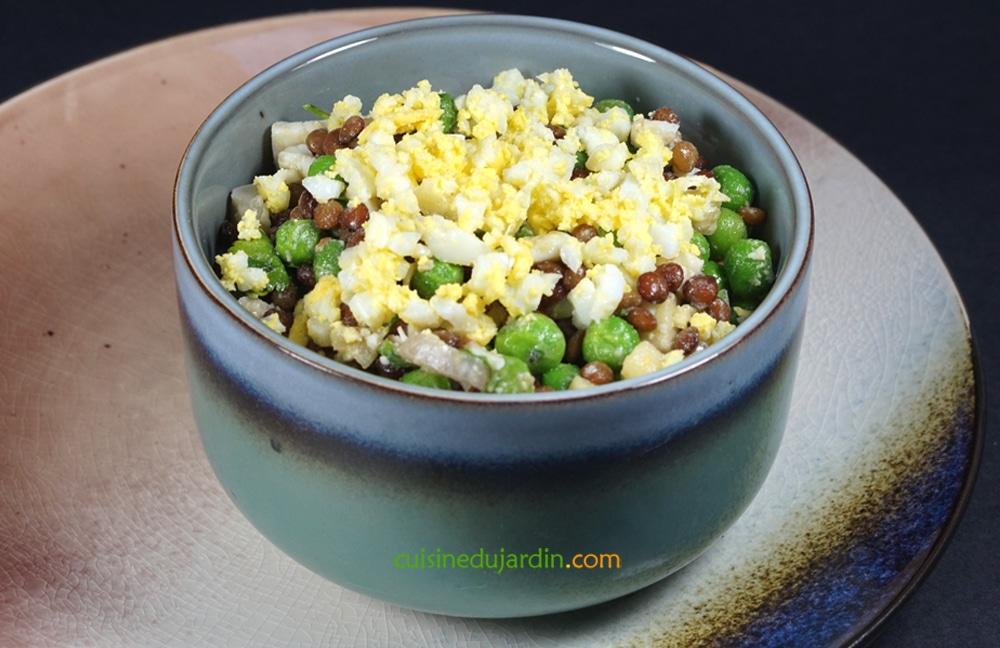 Salade de lentilles et petits pois mimosa