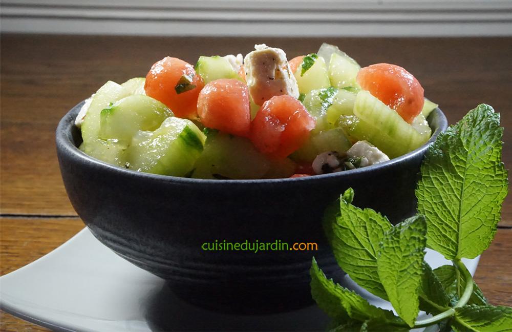 Salade de concombre et pastèque à la menthe