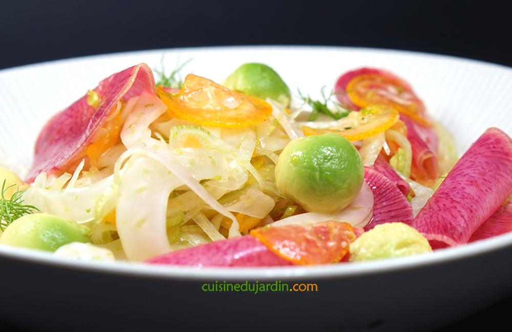 Salade de fenouil, kumquat, avocat et radis pastèque